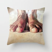 Throw Pillow featuring Pensando con los pies by Cristian Blanxer