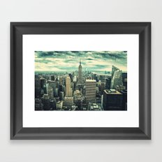 new york city panoramic view skyline Framed Art Print