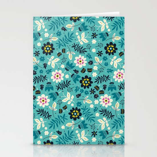 Fresh Blossoms (Greens) Stationery Card
