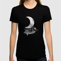 Moon Ship Womens Fitted Tee Black SMALL