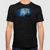 Deer In The Snow  Mens Fitted Tee Tri-Black SMALL
