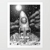 Running Away From Home In A Rocket Ship Art Print