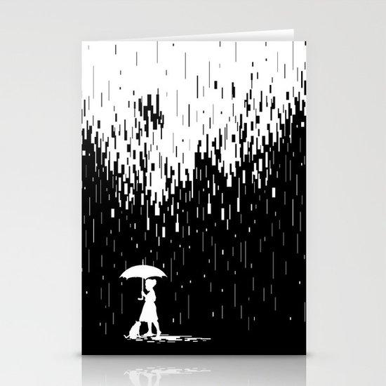 Pixel Rain Stationery Card