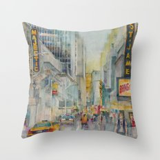 Broadway,  New York - Five O'Clock Revised Throw Pillow