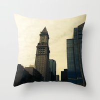 Boston Clocktower Throw Pillow