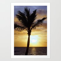 Tropical Sunrise Palm Silhouette Art Print