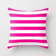 Horizontal Stripes (Magenta/White) Throw Pillow