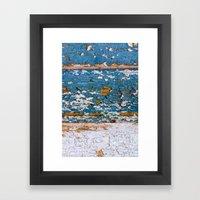 Worn Blue Wood Framed Art Print