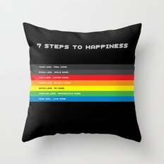 7 Steps To Happiness Throw Pillow