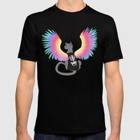 Magical Rainbow Cat Mens Fitted Tee Black SMALL