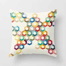 Contemporary Colourful Honeycomb Illustration Throw Pillow