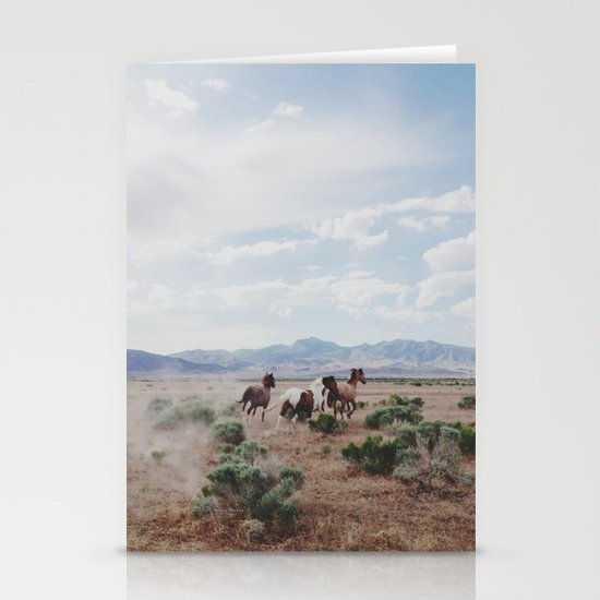 Running Horses Stationery Card