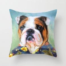 Chic English Bulldog Throw Pillow