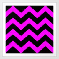 Black & Pink Chevron Lin… Art Print