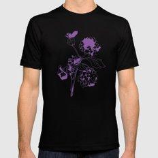 Hydranga - purple on blue Mens Fitted Tee SMALL Black