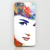 audrey hepburn iPhone & iPod Cases featuring Audrey Hepburn by Michael Akers