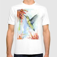 Hummingbird and Red Flower Watercolor Mens Fitted Tee White SMALL