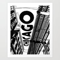 Cities in Black - Chicago Art Print