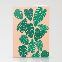 Cheese Plant - Trendy Hipster art for dorm decor, home decor, ferns, foliage, plants Stationery Cards