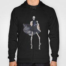 skeleton in leather & fur Hoody