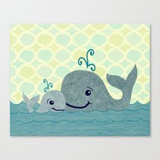 Whale Mom and Baby Canvas Print