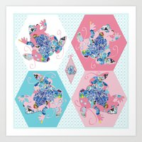 The Pink Patchwork Frog Art Print