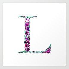 Floral Monogram Letter L Art Print