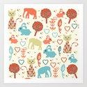 Elephants pattern #5 Art Print