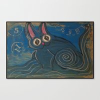 Wave Kitty Canvas Print