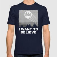 I Want to Believe in a Hero Mens Fitted Tee Navy SMALL