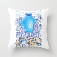 Monster in the city Throw Pillow
