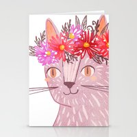 Cat with Floral Crown Stationery Cards