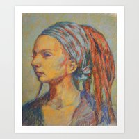 Woman In Pastel Art Print