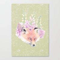 Fox & Foxgloves  Canvas Print