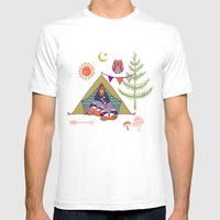 Racoon's Campout Mens Fitted Tee White SMALL