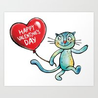 Happy Valentine's Day - Balloon heart and a kitten Art Print