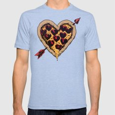 Pizza Love Mens Fitted Tee Tri-Blue SMALL