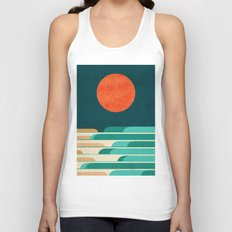 Chasing wave under the red moon Unisex Tank Top