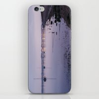 Boats and distant harbour reflected at twilight. Wells-next-the-sea, Norfolk, UK. iPhone & iPod Skin
