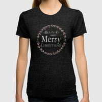 Merry Christmas Womens Fitted Tee Tri-Black SMALL