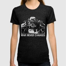Fallout 3 War Never Chan… Womens Fitted Tee Tri-Black SMALL