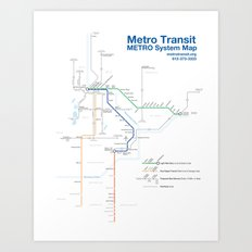 Twin Cities METRO System Map Art Print