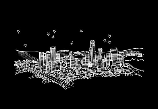 Los Angeles, California City Skyline Art Print