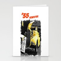 Classic yellow roadster Stationery Cards