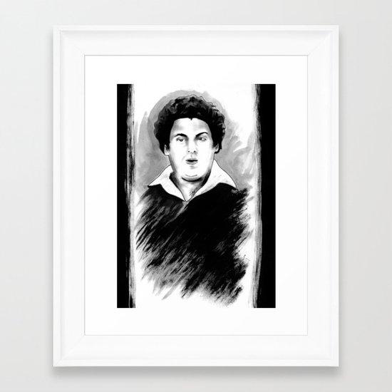DARK COMEDIANS: Jonah Hill Framed Art Print