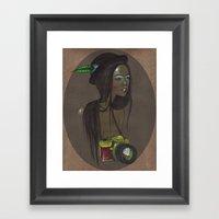 Girl With Photo Camera Framed Art Print
