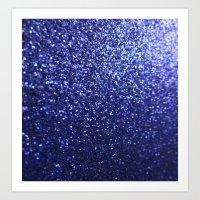 Royal Blue Glitter Sparkles Art Print
