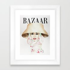 Harper's Bazaar Magazine Cover. Audrey Hepburn. Fashion Illustration Framed Art Print