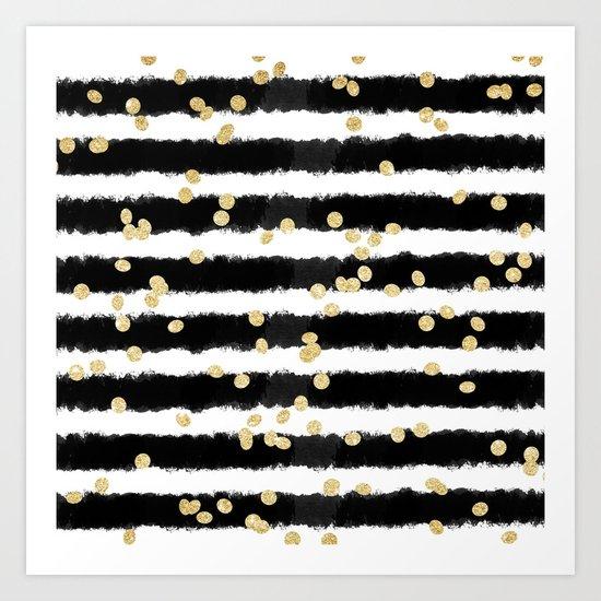 modern black watercolor stripes chic gold confetti art
