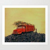 Sugar Cane And Truck On … Art Print